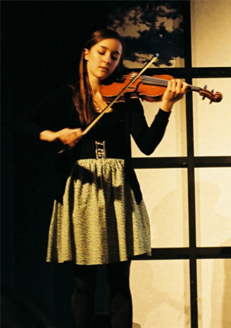 Catriona Price playing my Andrew Hume violin at the Edinburgh Book Festival in 2011